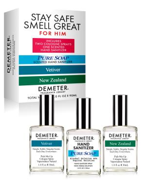 Stay Safe Smell Great For Him 1 oz Set - Pure Soap Scented Hand Sanitizer, Vetiver Cologne Spray, New Zealand Cologne Spray