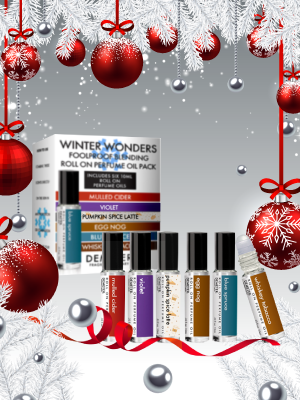 Winter Wonders Roll On Perfume Oil Blending Pack - Mulled Cider, Violet, Pumpkin Spice Latte, Egg Nog, Blue Spruce, Whiskey Tobacco